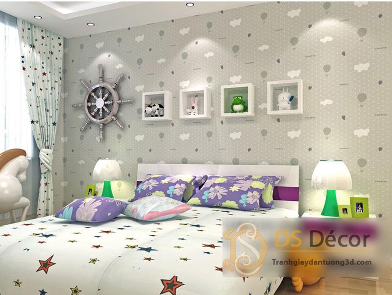 Giấy Dán Tường 3D Phòng Của Bé Họa Tiết Mây Khinh Khí Cầu – 3D037