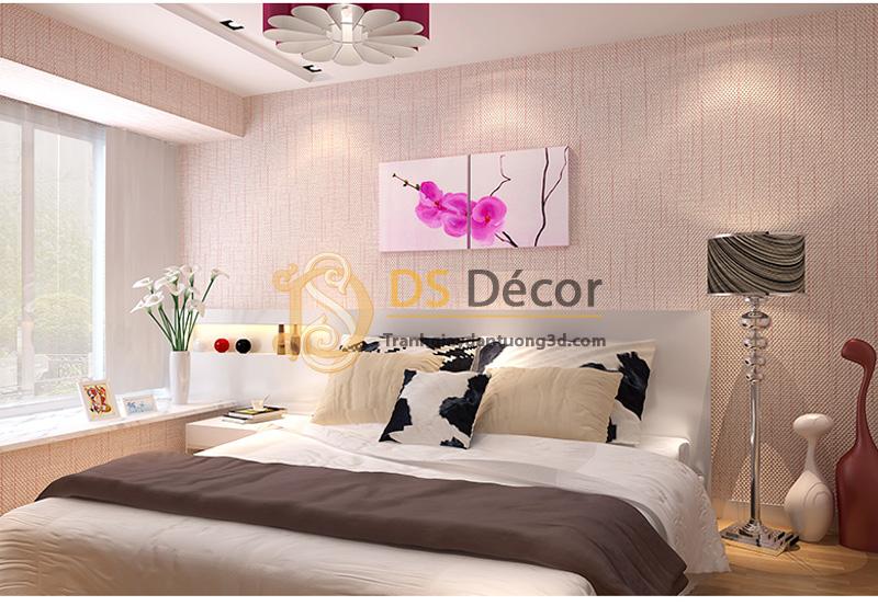 Giấy dán tường phòng ngủ sọc kaki 3D032 màu hồng