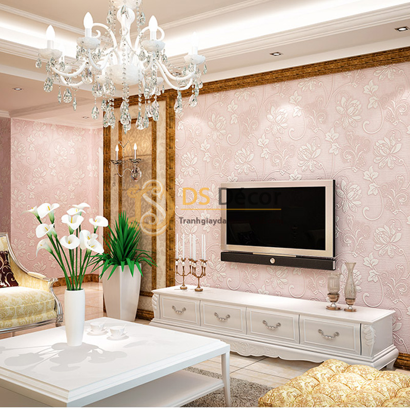 Sử dụng giấy dán tường họa tiết hoa sen cách điệu trang trí cho phòng khách