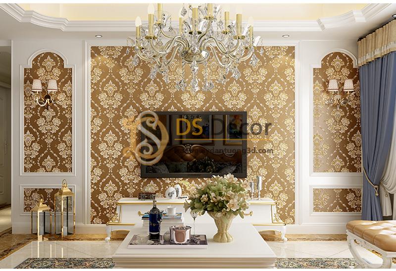 Hoa khô kết hợp Giấy Dán Tường 3D Họa Tiết Hoa Dập Nổi Đính Kim Cương – 3D028 màu nâu