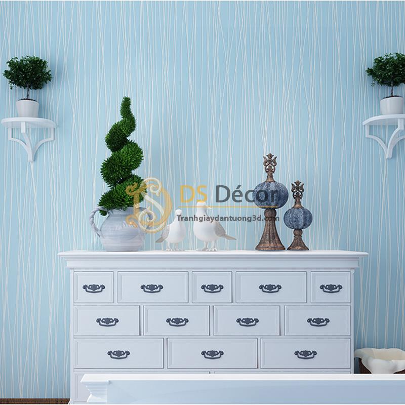 Sử dụng Giấy Dán Tường 3D Họa Tiết Sọc Chéo – 3D018 sắc xanh tươi mát