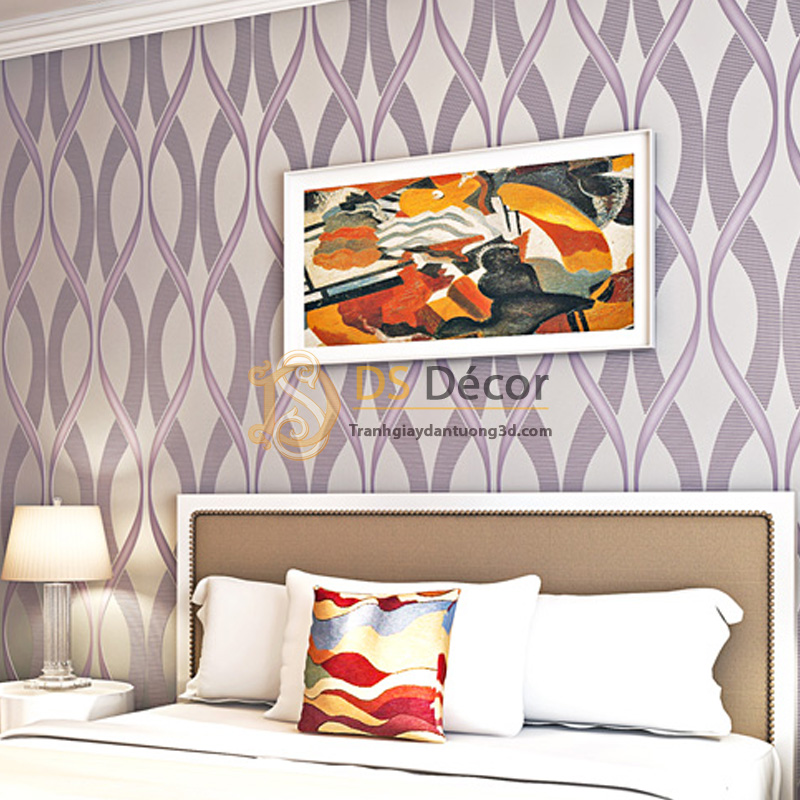 Giấy dán tường họa tiết sóng biến hợp với phòng ngủ có diện tích rộng.