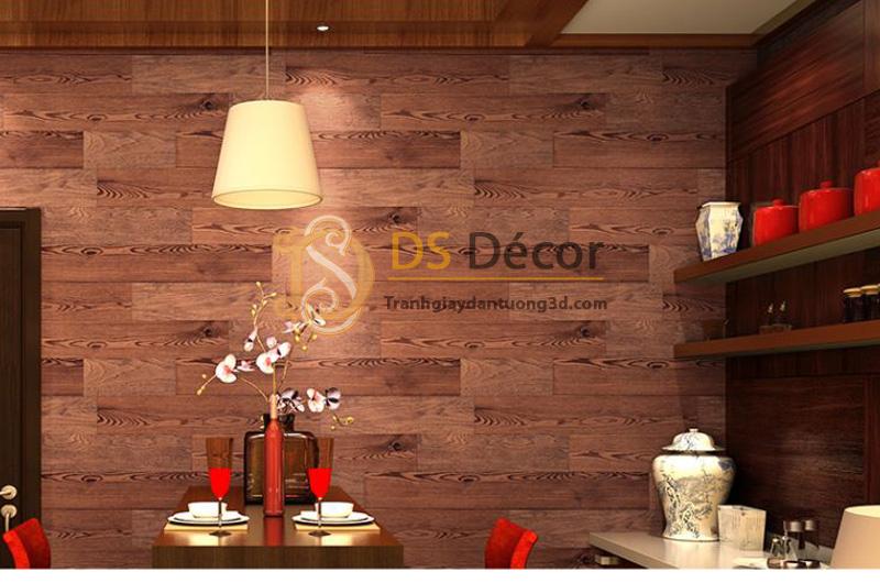 Giấy Dán Tường 3D Họa Tiết Giả Vân Gỗ – 3D021 kết hợp nội thất màu đồng