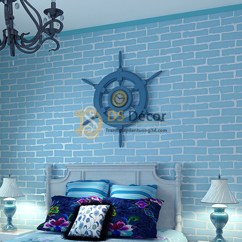 Giấy Dán Tường 3D – Họa Tiết Giả Gạch Hiện Đại 3D009 màu xanh