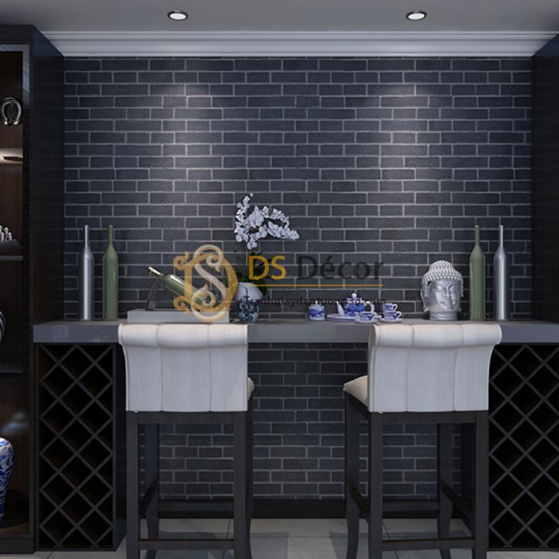 Giấy Dán Tường 3D – Họa Tiết Giả Gạch Hiện Đại 3D009 màu đen