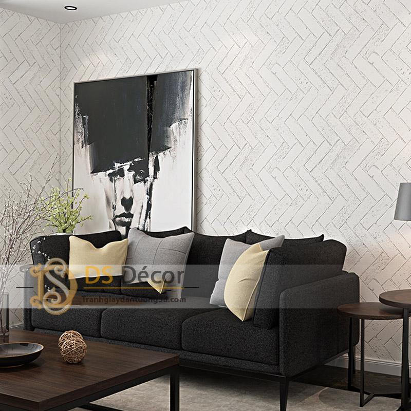 Giấy Dán Tường Giả Gạch Xi Măng – Giấy Dán Tường Giả Gạch Chéo 3D061 màu trắng