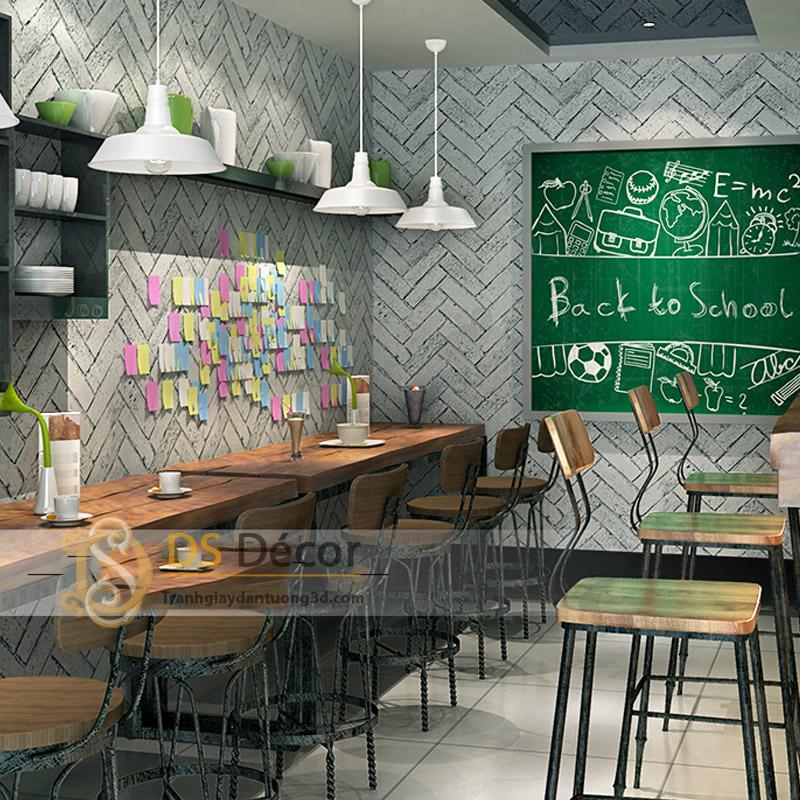Giấy dán tường 3d giả gạch xi măng trang trí quán trà sữa phong cách lớp học