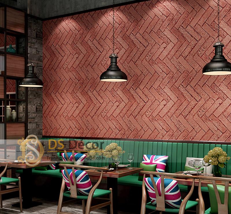 Giấy dán tường 3d giả gạch xi măng màu đỏ gạch trang trí quán cà phê