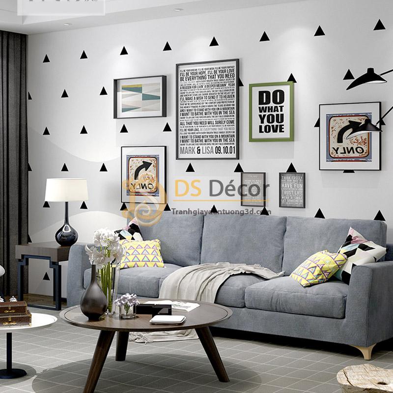 Sofa bọc nhung phối nền Giấy Dán Tường Họa Tiết Tam Giác Đen Trắng 3D048