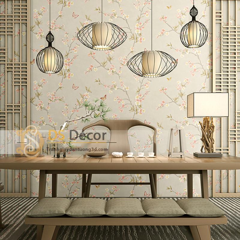Giấy dán tường hoa đào và bướm tông màu be cho quán phong cách Nhật