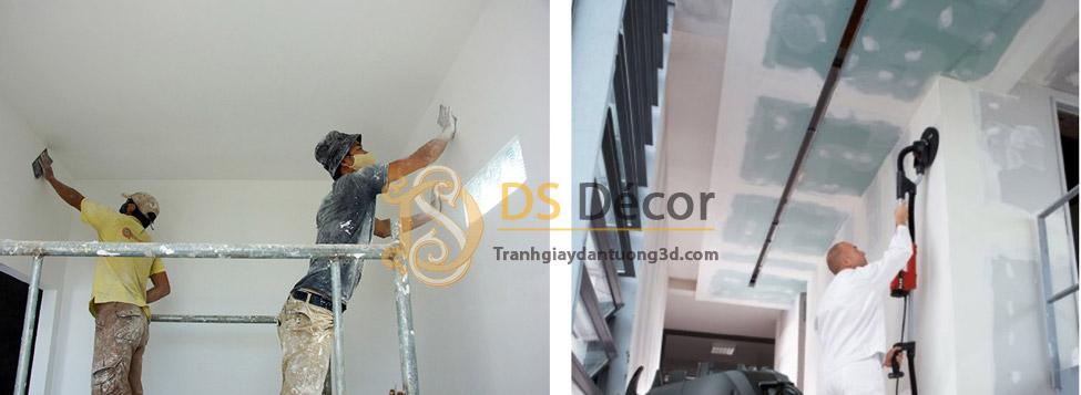 Nên chà nhẵn tường để đảm bảo độ dính của keo và giấy, cũng như tính thẩm mỹ, không bị gồ ghề giấy