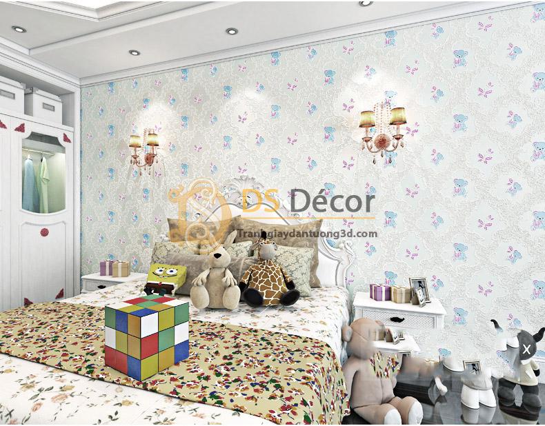 Giấy Dán Tường Họa Tiết Gấu Bông 3D070 trang trí phòng bé