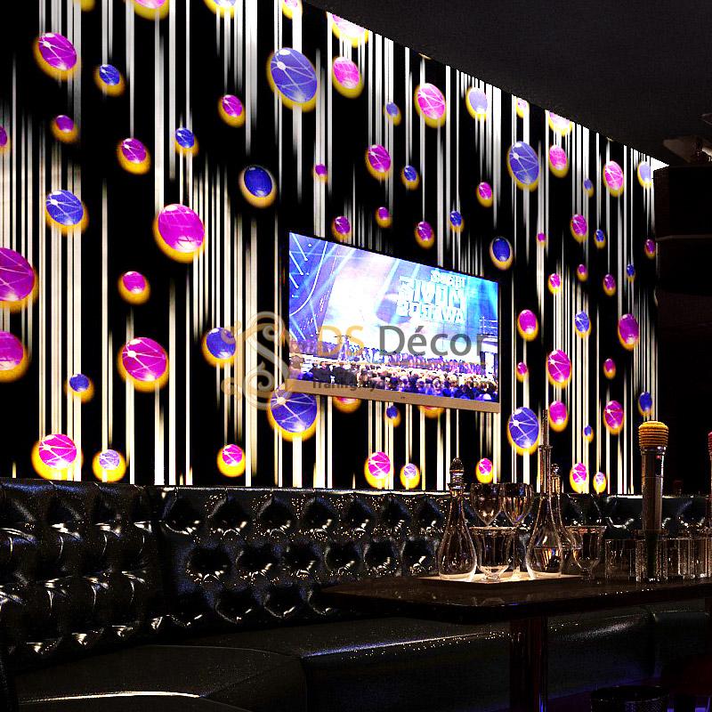 Giấy dán tường họa tiết ngọc rơi phù hợp cho không gian quán bar, quán rượu, karaoke
