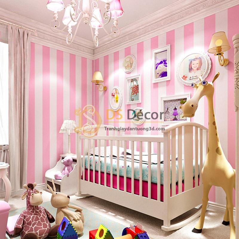 Giấy Dán Tường Sọc Hồng Hello Kitty – Giấy Dán Tường Phòng Trẻ Em – 3D062