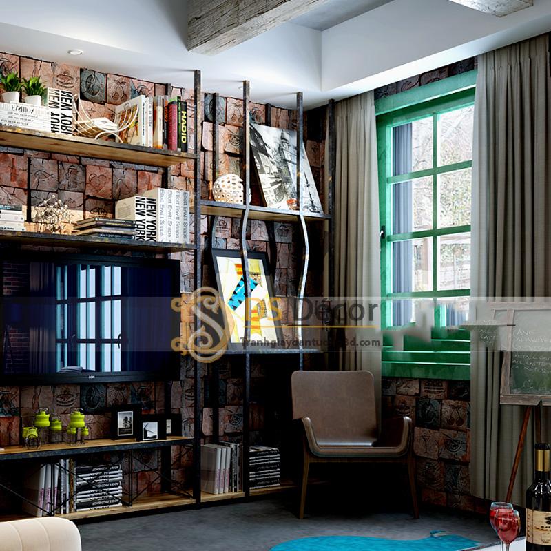 Tủ sách cùng Giấy Dán Tường 3D Giả Gỗ Có Hoa Văn Phong Cách Vintage – 3D044