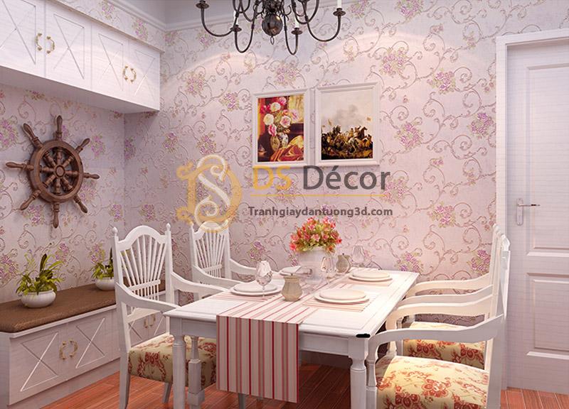 Hình ảnh phòng bếp dán giấy dán tường dây leo hoa hồng phong cách Hàn Quốc