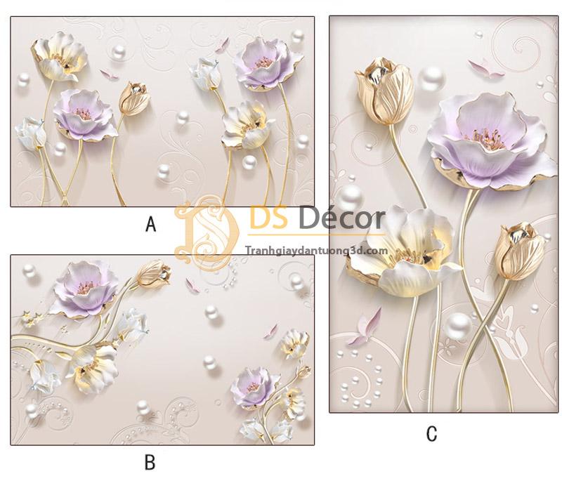 3 mẫu của Tranh dán tường hoa giả ngọc 5D001.