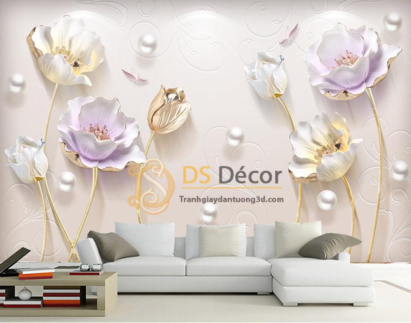 Tranh dán tường hoa giả ngọc 5D001 mẫu ngang đặt tại sau ghế sofa phòng khách