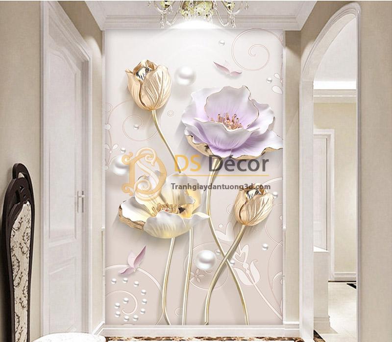 Tranh dán tường hoa giả ngọc 5D001 mẫu đứng đặt ở khoảng giao giữa 2 phòng