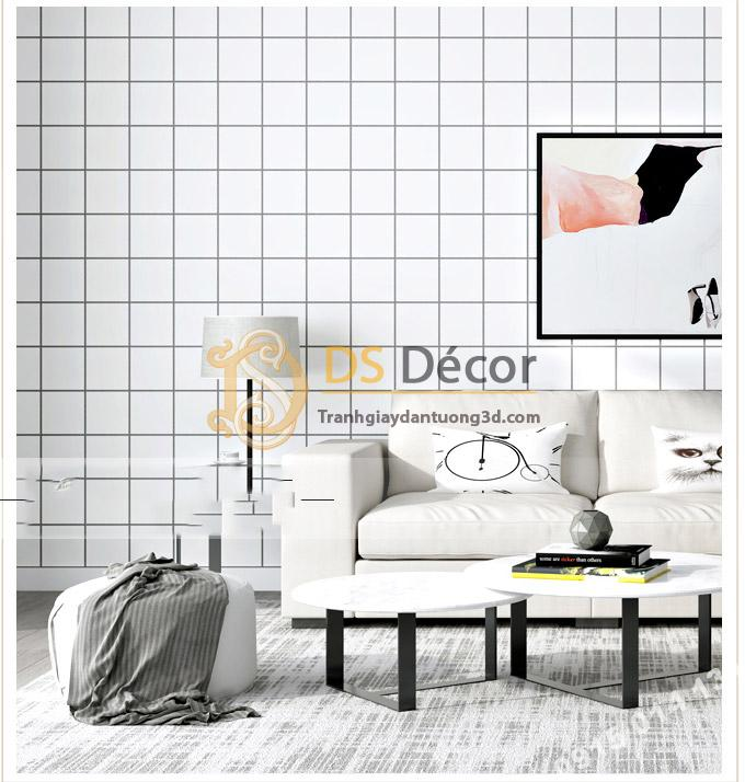 Giấy Dán Tường Caro Ô Vuông Trắng 3D088 góp mặt trong phong cách trắng đen