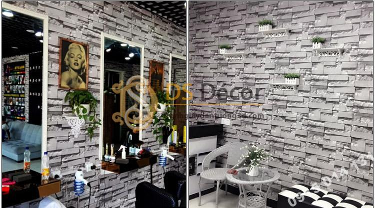Giấy dán tường giả gạch xám dán tiệm tóc nhỏ nữ - 3D080