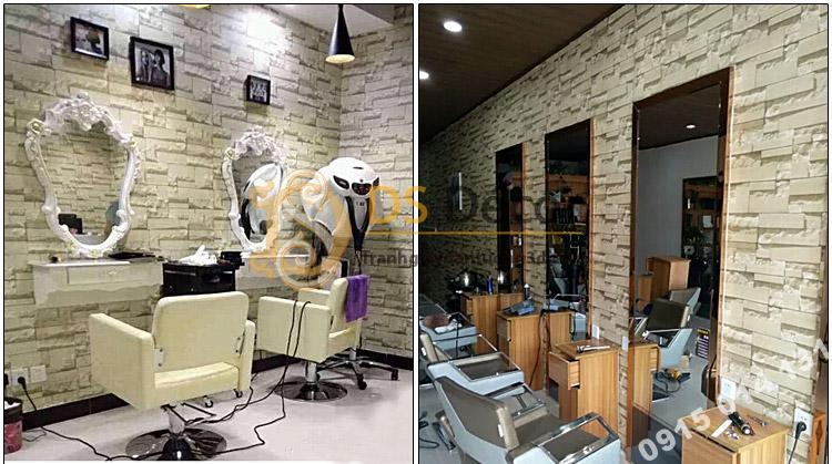 Công trình thiết kế thi công giấy dán tường tiệm tóc nhỏ nam nữ