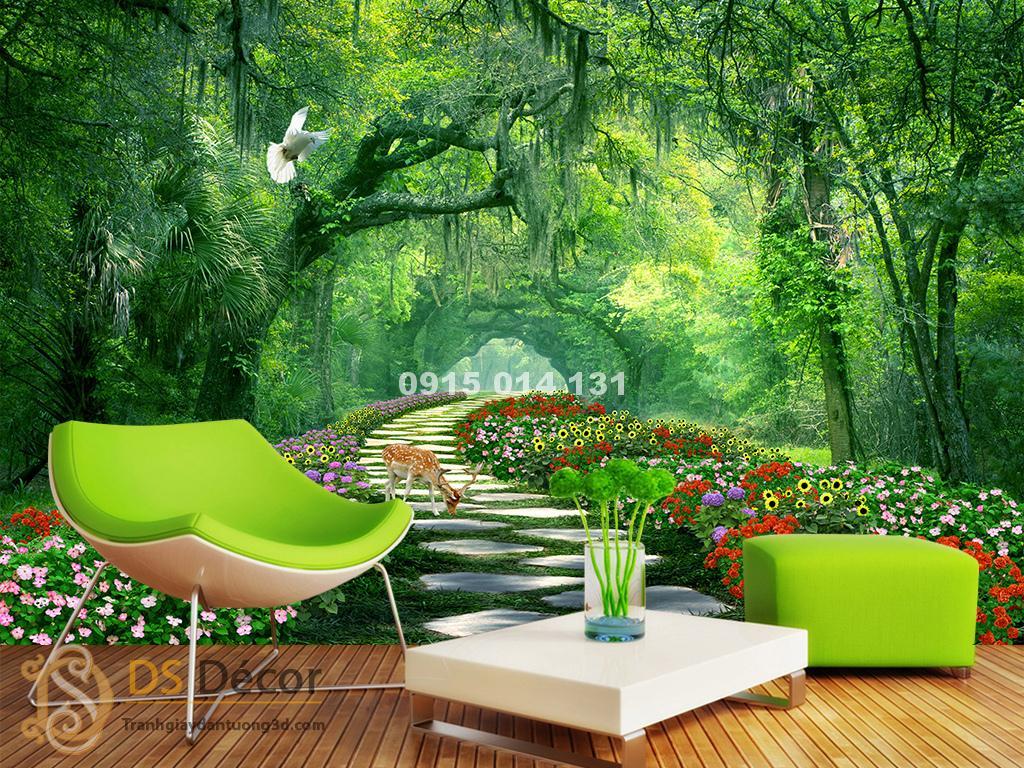 Không gian tràn ngập tự nhiên với Tranh dán tường phong cảnh con đường rừng cây – 5D004