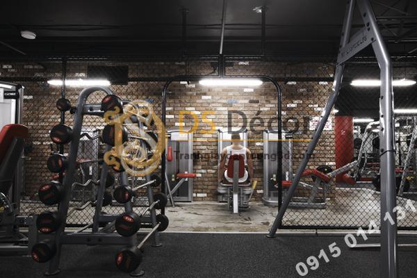 Giấy dán tường giả gạch phòng gym đẹp