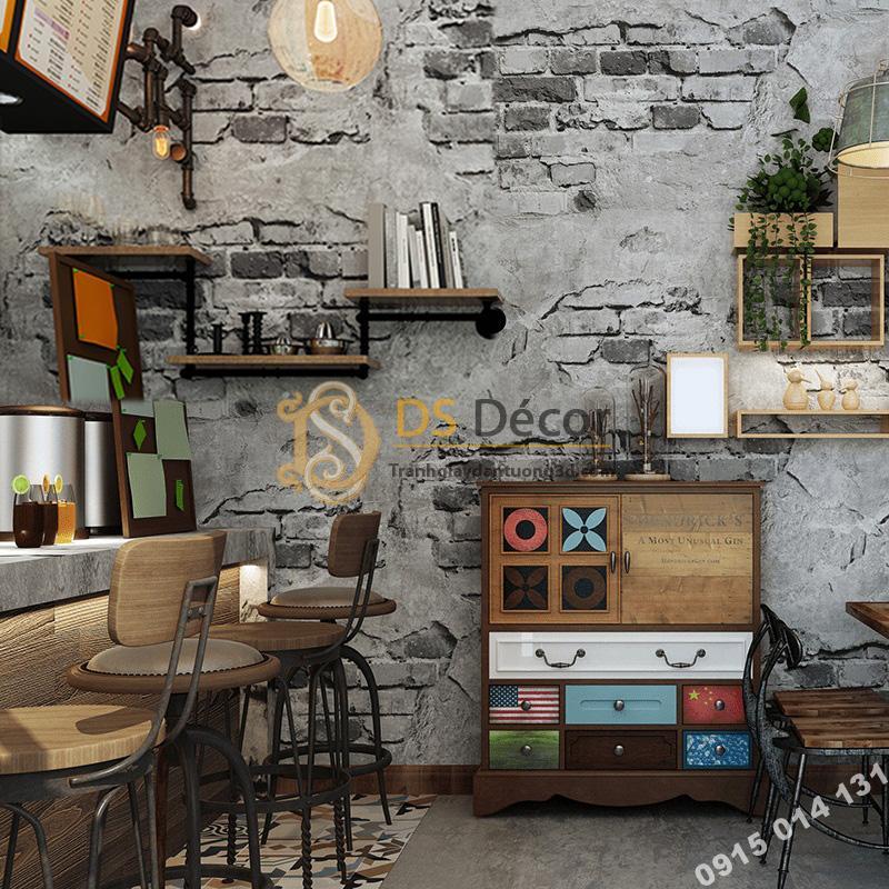 Giấy-dán-tường-quán-cafe-tường-gạch-cổ-3D109-màu-xám