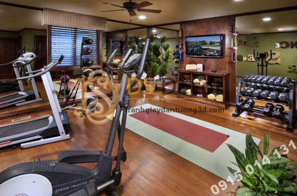 trang trí phòng gym với giấy dán tường giả gỗ
