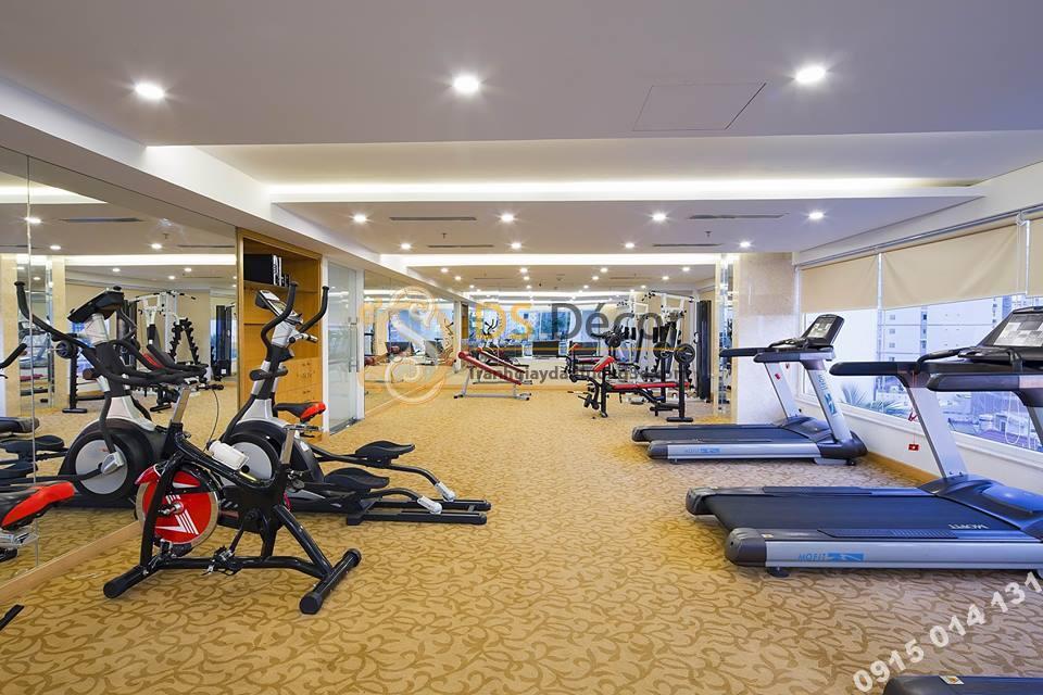 trang trí phòng gym với giấy dán tường