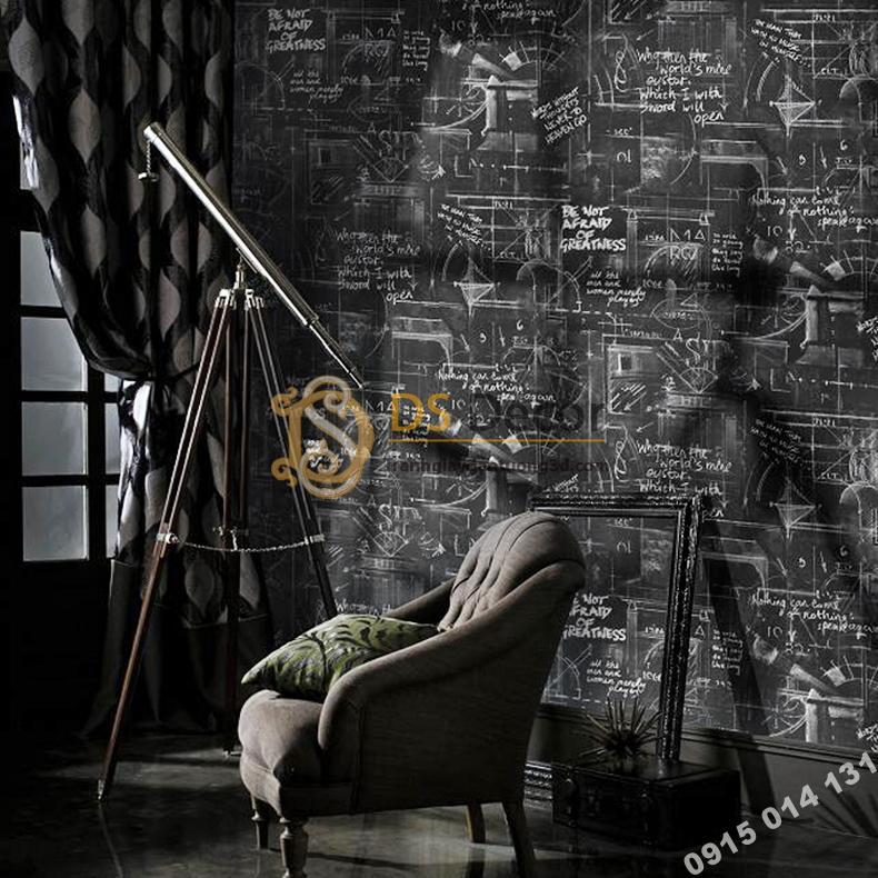Giấy dán tường họa tiết bảng đen phấn trắng 3D158