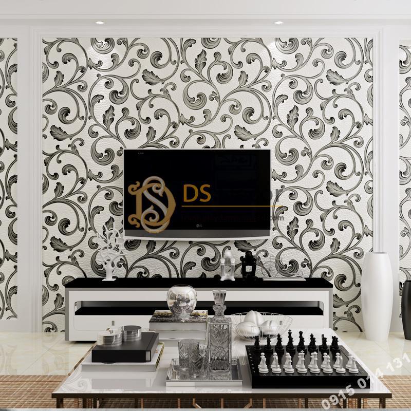 Giấy dán tường lá sen móc hoa 3D150 màu đen