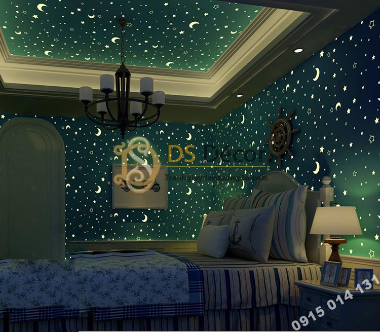 Giấy dán tường dạ quang xanh ban đêm 3D170