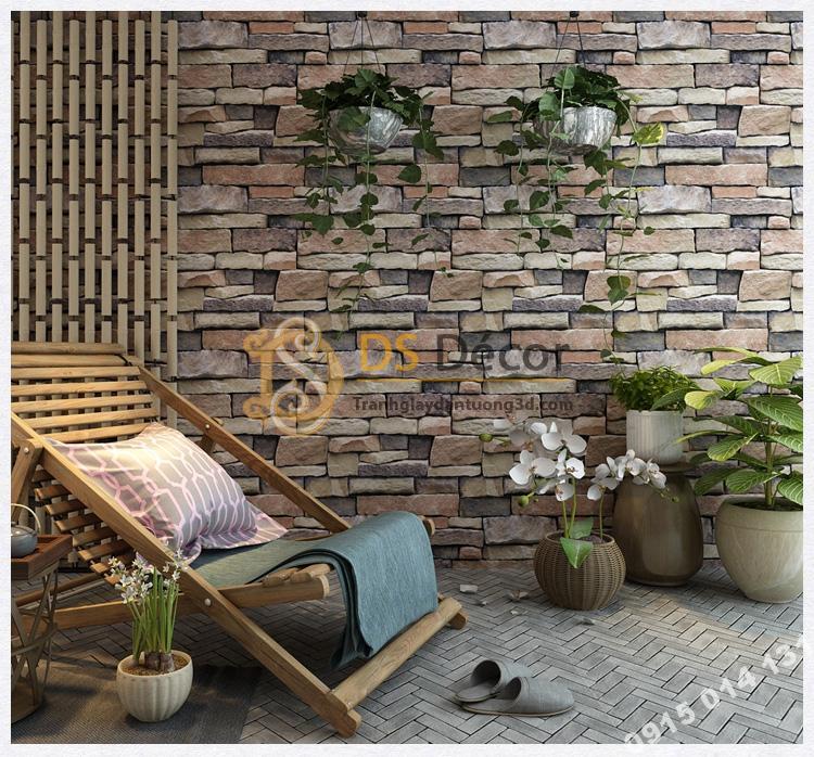 Giấy dán tường giả đá retro cho homstay 3D164 màu nâu xám