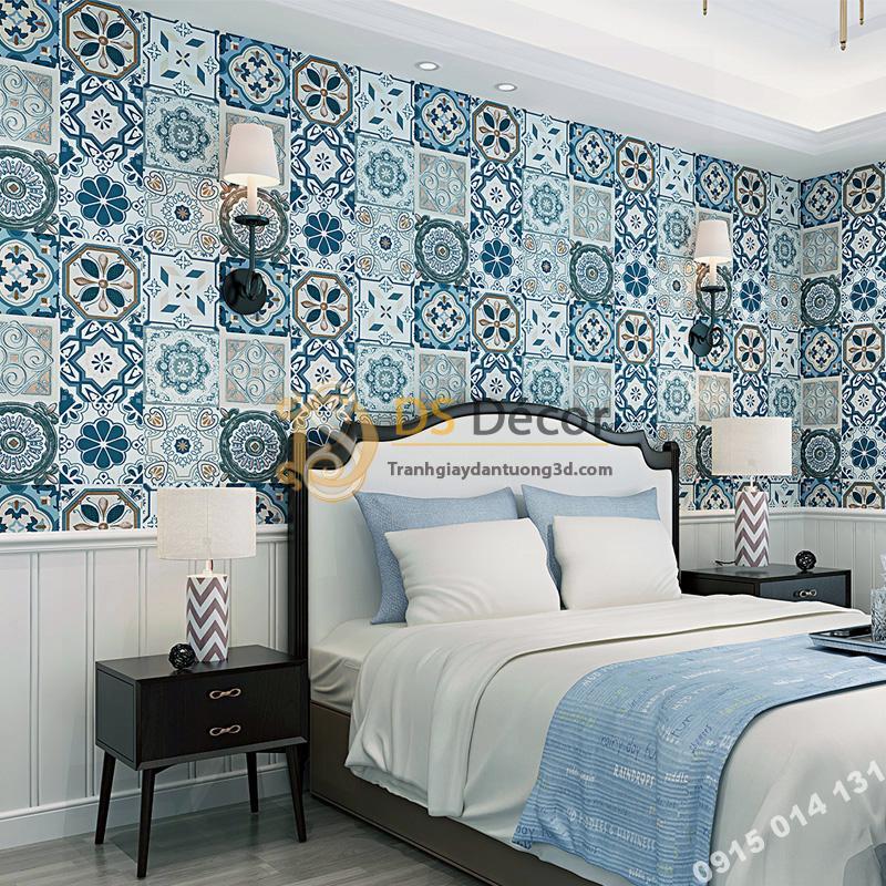 Giấy dán tường giả gạch men phong cách Bohemian 3D180 trang trí phòng ngủ