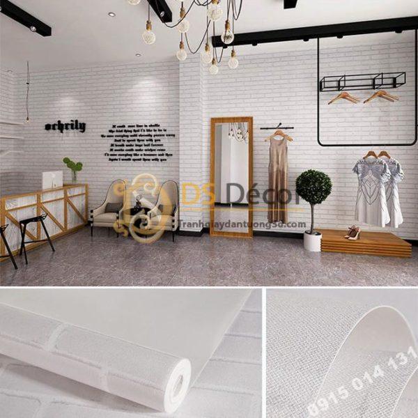 Giấy Dán Tường Giả Gạch Trắng Cho Shop Quần Áo 3D116