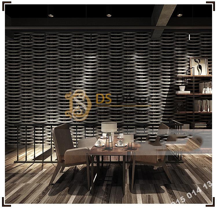 Giấy Dán Tường Họa Tiết Tre Đan Lát 3D163 trang trí quán trà sữa