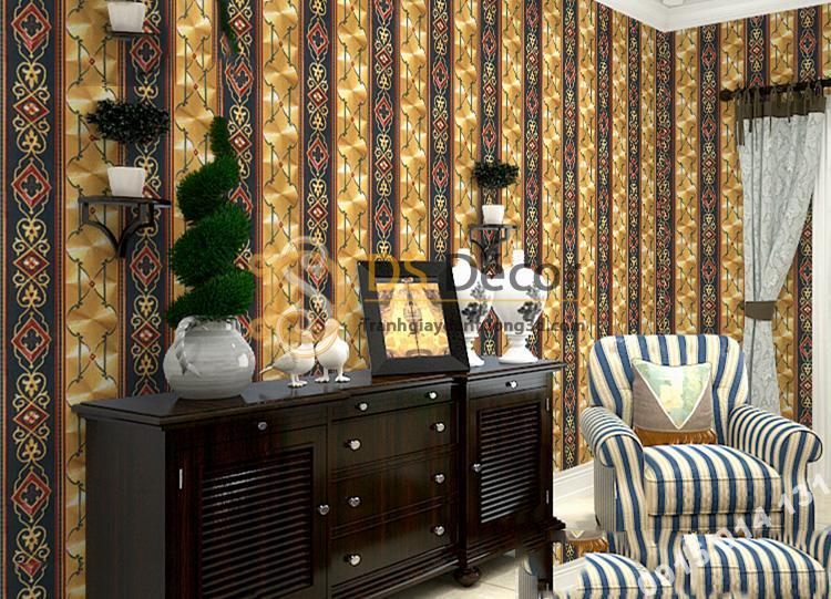 Giấy dán tường kẻ sọc kiểu hoàng gia màu vàng đen 3D184 trang trí phòng khách