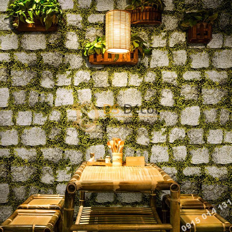 Giấy dán tường giả đá xen rêu xanh 3d179 trang trí quán ăn