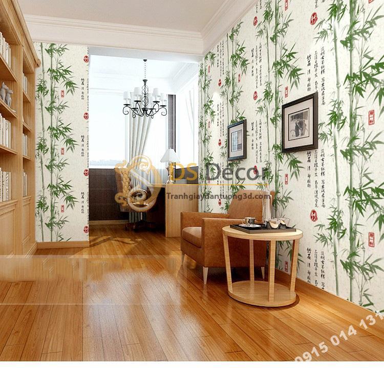 Giấy dán tường tre xanh thư pháp 3D174 phòng làm việc