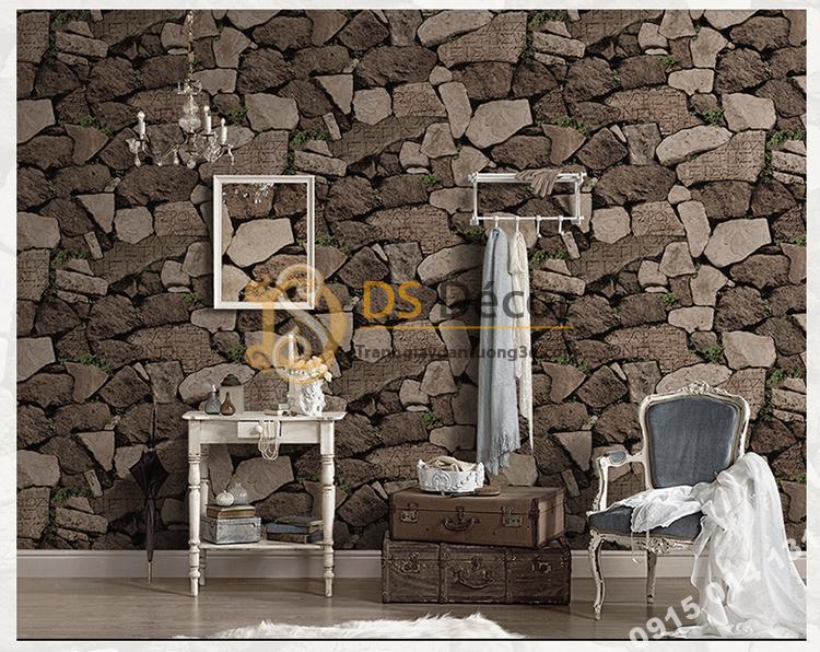 Giấy dán tường giả tường đá nâu cổ 3D154