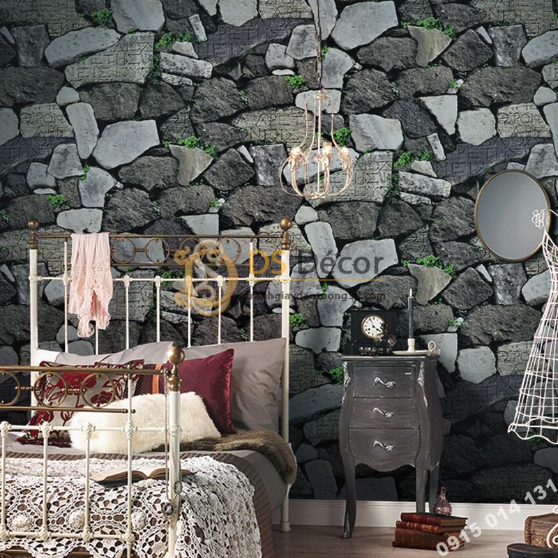 Giấy dán tường giả tường đá xám đen cổ 3D154
