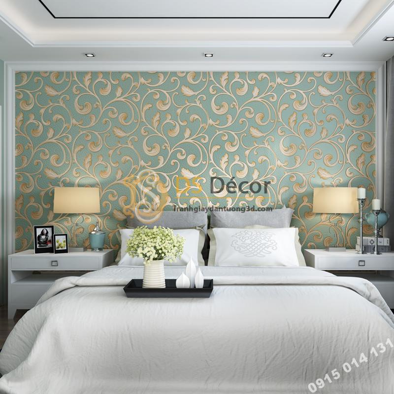 Giấy dán tường lá sen móc hoa 3D150 màu xanh