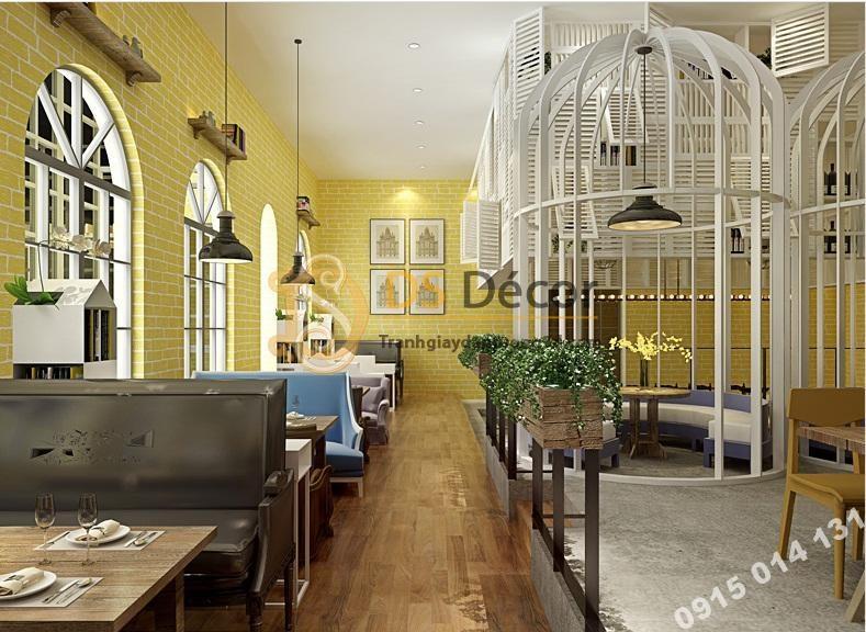 Giấy dán tường giả gạch trang trí nhà hàng