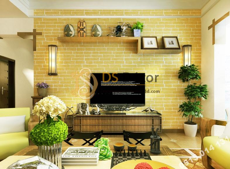 Giấy dán tường giả gach vàng 3D độc đáo phòng khách