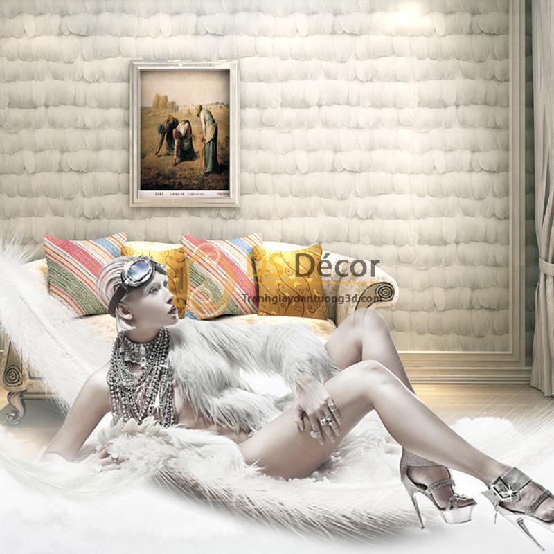 Giấy Dán Tường 3D Họa Tiết Giả Lông Vũ 3D011