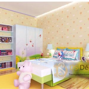 Giấy Dán Tường 3D Phòng Của Bé Họa Tiết Mây Khinh Khí Cầu - 3D037