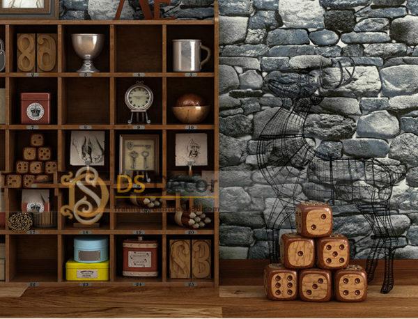 Giấy Dán Tường Retro Giả Đá Rêu 3D082