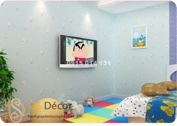 Giấy Dán Tường Mèo Hello Kitty 3D038